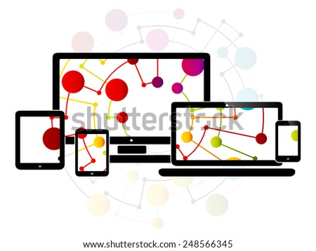 Abstract illustration with internet responsive web design - stock vector