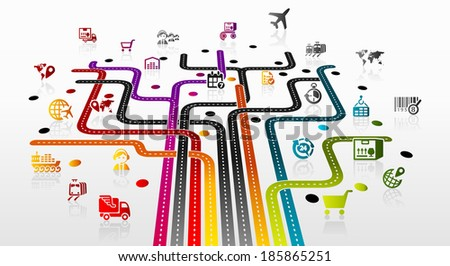 Abstract illustration with logistics infrastructure  - stock vector