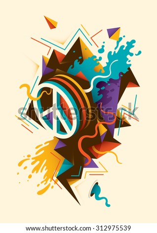 Abstract illustration with peace symbol. Vector illustration. - stock vector
