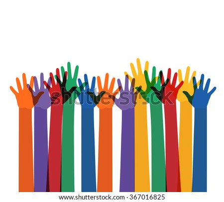 abstract illustration with raising multi color hands. vector