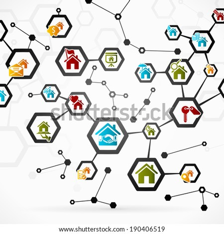 Abstract illustration with real estate network - stock vector