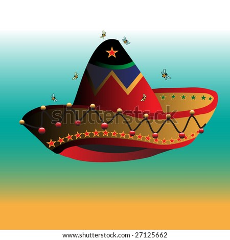 Abstract illustration with small bees flying above a colorful mexican sombrero