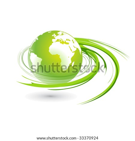 Abstract illustration with swirl globe - stock vector