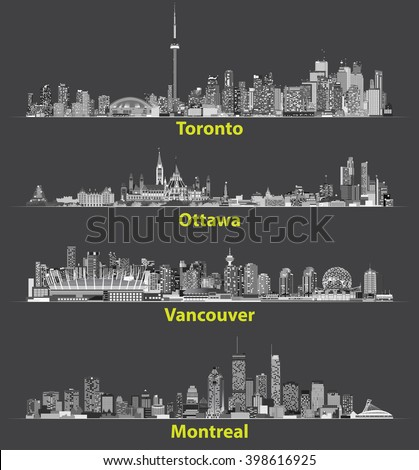 abstract illustrations of canadian urban city skylines at night - stock vector