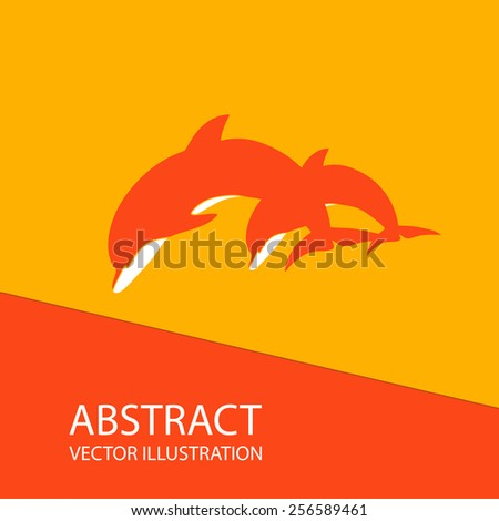 Abstract image in orange. Two dolphins - stock vector