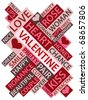 Abstract image made from words which relate with love and valentine - stock vector