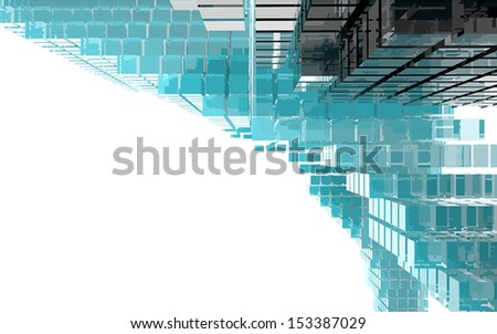 Abstract image of blue, black and white glass cubes.  - stock vector
