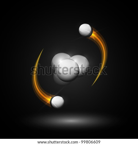 Abstract image of helium atom. Eps 10 - stock vector