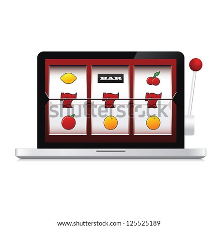 Abstract image of laptop online casino slot machine - stock vector