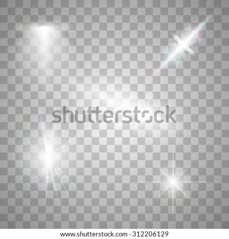 Abstract image of lighting flare. Set - stock vector