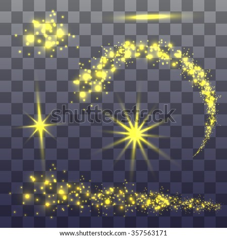 Abstract image of lighting flare. Set of golden lights stars - stock vector
