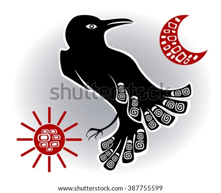 Abstract image of raven. EPS10 vector illustration. - stock vector