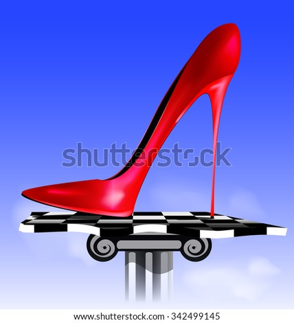 abstract image of red shoe - stock vector