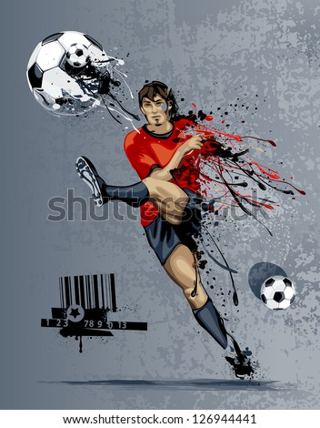Abstract image of soccer player kicking ball with liquid effect. Graffiti style with dirty grunge elements. - stock vector