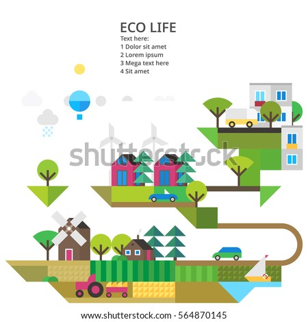 Abstract Image Ecosystem Modern City Wind Stock Vector ...