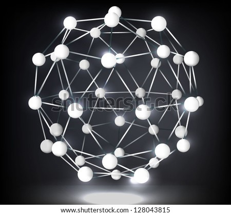 Abstract image of the molecular structure in the form of a sphere - stock vector