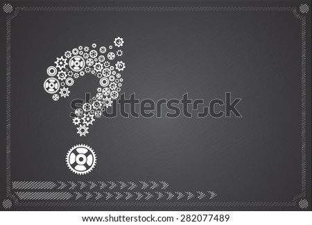 Abstract image with question mark made of gears - stock vector