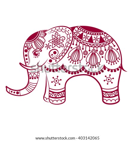 Abstract Indian elephant. Carved elephant. Stylized fantasy patterned elephant. Hand drawn vector illustration with traditional oriental floral elements.  - stock vector