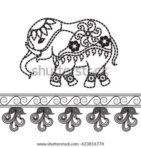 Indian Elephant Design Black And White
