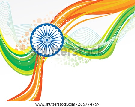 abstract Indian flag wave with chakra vector illustration - stock vector