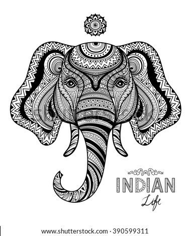 Abstract indian life symbol elephant in zentangle style, for doodle coloring page. Vector illustration. - stock vector