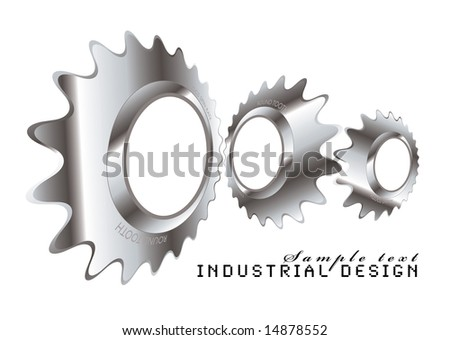Abstract industrial design with a metal cog logo - stock vector