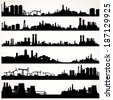 Abstract Industrial Skyline Set. Vector Panoramic Silhouettes - stock vector