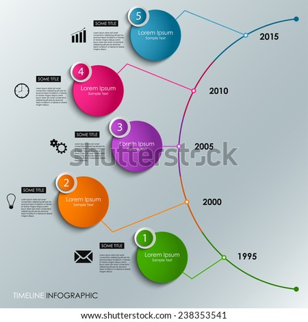Abstract info graphic time line colored round element template - stock vector