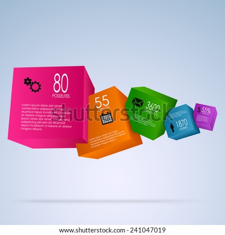 Abstract info graphic with colorful cubes - stock vector