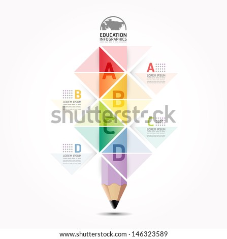 Abstract infographic Design Minimal style pencil  template / can be used for infographics / numbered banners / horizontal cutout lines / graphic or website layout vector - stock vector