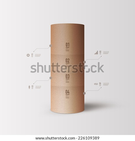 Abstract infographic design with minimal 3D paper tube object with your text  can be used for workflow layout, diagram, chart, number options, web design.  Eps 10 stock vector illustration  - stock vector