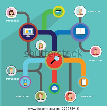 Abstract Infographic elements  with Avatars and icons. - stock vector