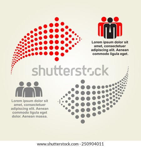 Abstract infographic with dots arrows. Can be used for workflow layout. Vector illustration Eps8. - stock vector
