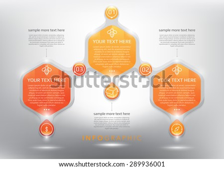 Abstract infographic with hexagonal elements. Glossy and transparent on the white panel. Use for business concept. 3 parts concept. Vector illustration. Eps10. - stock vector