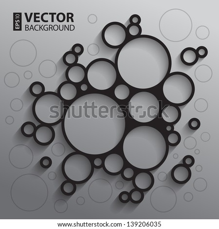Abstract infographics background with black and white sketch circles and shadows. RGB EPS10 vector illustration - stock vector