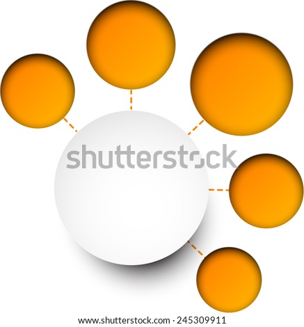 Abstract infographics composed of round paper stickers. Vector illustration.  - stock vector