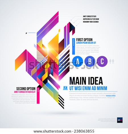 Abstract infographics layout with glossy geometric elements. Useful for presentations, web design or other media. EPS10 vector template. - stock vector