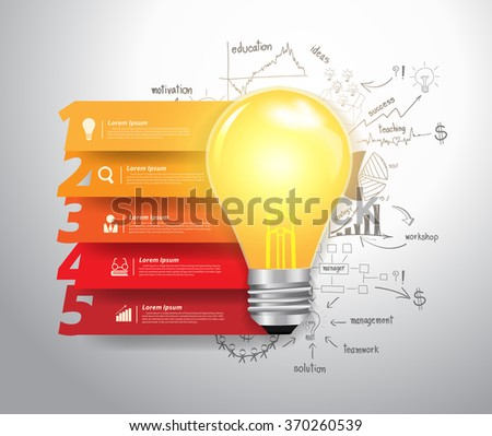 Abstract infographics numbers step options, With lightbulb ideas concept doodles creative thinking drawing business success strategy plan ideas, Vector illustration modern layout template  - stock vector