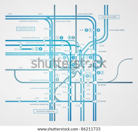 abstract infographics subway transportation plan - stock vector