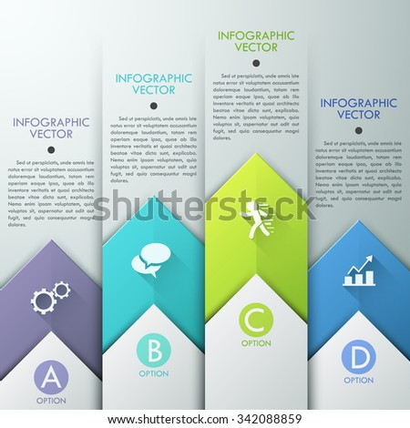 Abstract infographics template design with paper arrows - vector illustration. Business concept with five options, parts, steps or processes. - stock vector