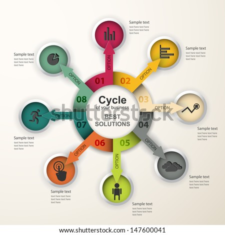Abstract infographics. Vector data pattern of cyclical processes, stages. Creative design. - stock vector