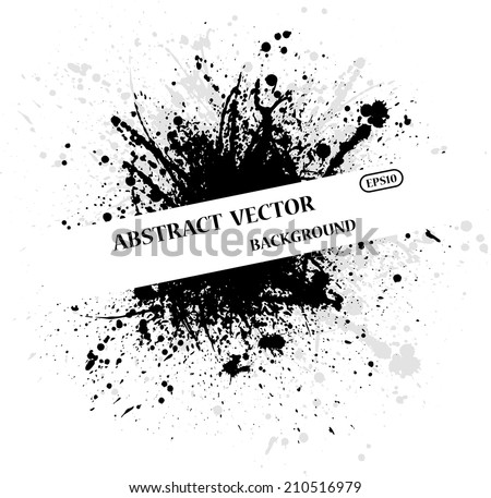 Abstract ink blots background with white banner. eps10 - stock vector