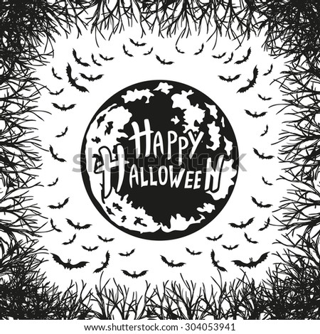 abstract inscription Happy Halloween on the moon - stock vector