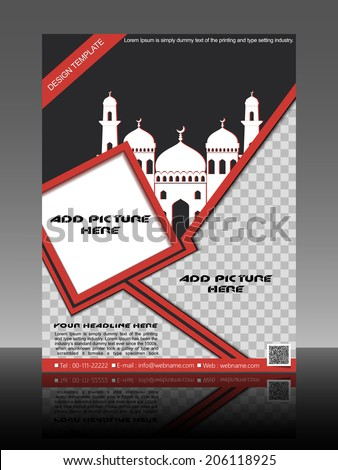 Abstract Islamic flyer or brochure and cover design with Mosque or Masjid. EPS 10, vector illustratio - stock vector