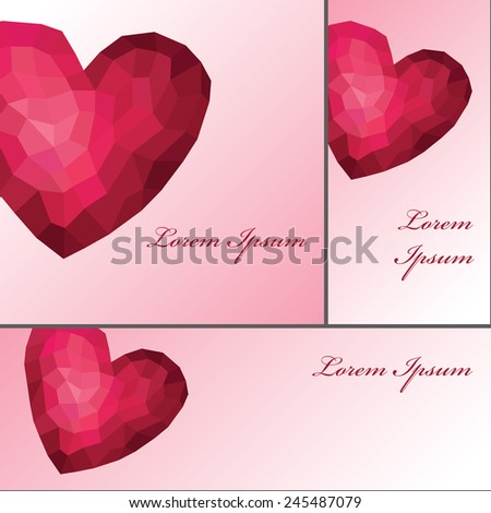 Abstract isolated Triangles,polygons pink heart  background.Valentine day,wedding.Greeting card,invitation,wallpaper, backdrop,poster,banner.Vertical,horizontal,square composition.Love romantic Vector. - stock vector
