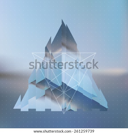 Abstract isometric broken or fragmented pyramid with the reflection of the environment and low poly triangles on blurred background. Vector multifunctional blurry backdrop. - stock vector