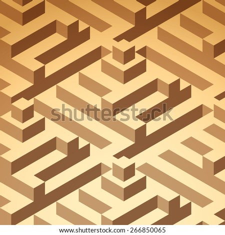 Abstract isometric buildings pattern, vector - stock vector