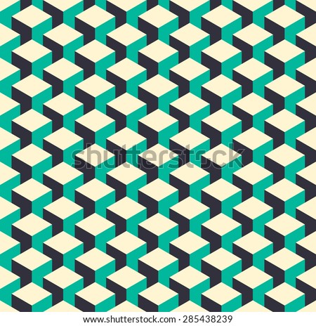 Abstract isometric 3d color retro cube shape seamless pattern background. Ideal for fabric design, wrapping paper print and website backdrop. EPS10 vector file. - stock vector