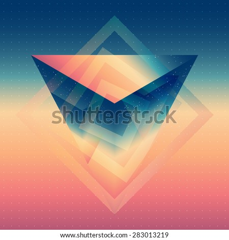Abstract isometric prism with the reflection of the environment on blurred background. Minimalistic blurry backdrop. Futuristic object levitating in the air. - stock vector