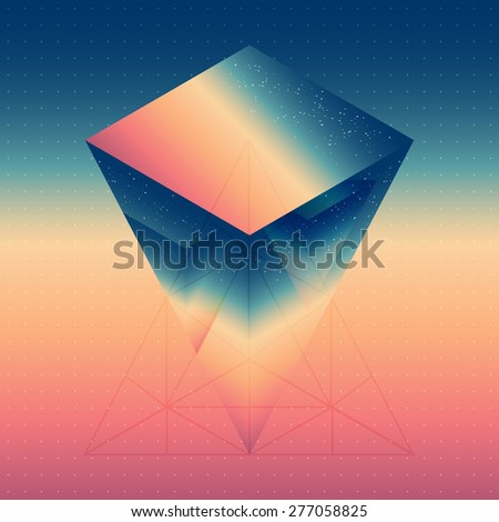 Abstract isometric prism with the reflection of the space and low poly triangles on blurred background. Vector futuristic backdrop. - stock vector